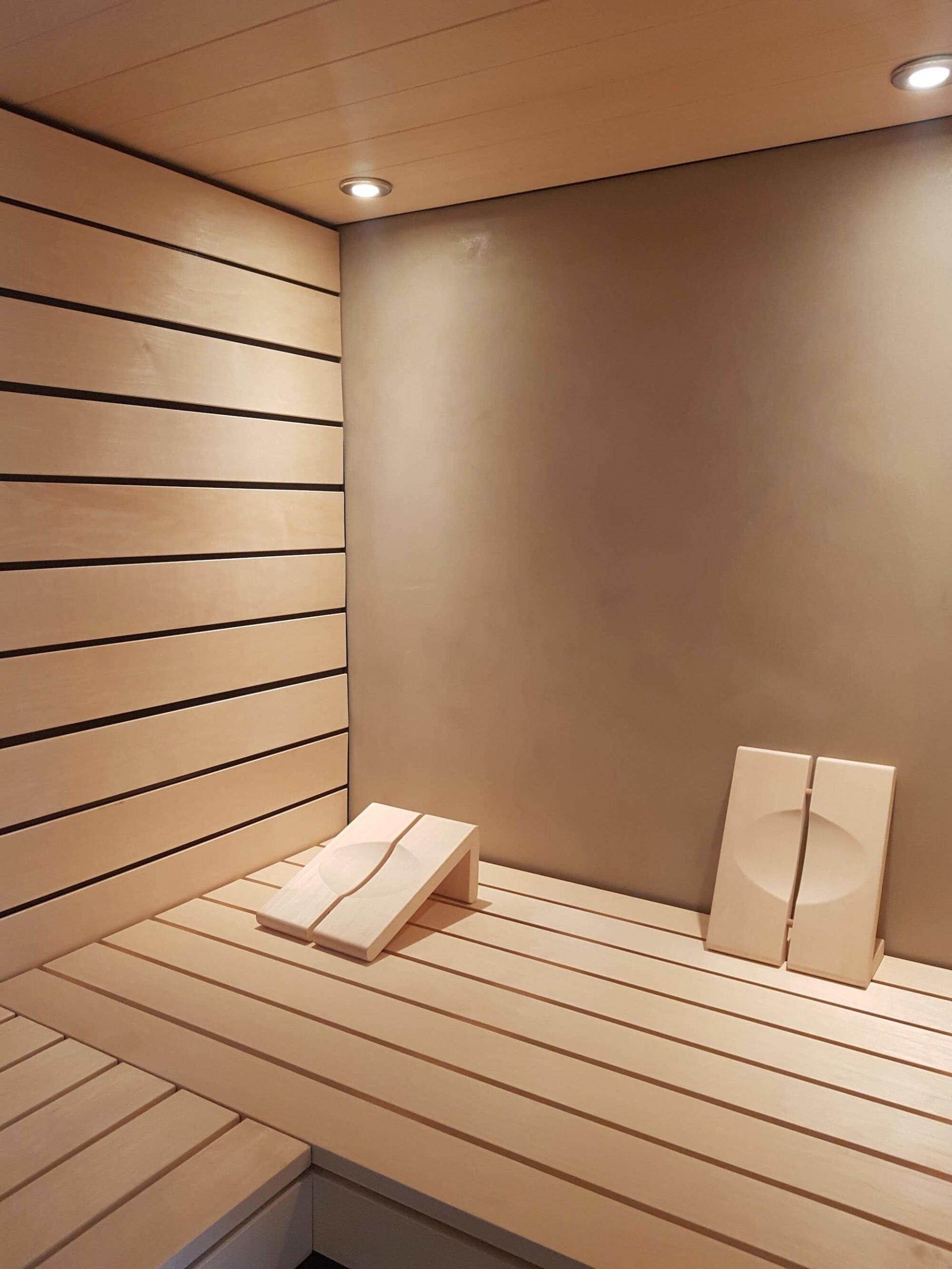 Sauna mit fugenloser Wandbeschichtung durch die Viktor Wyss AG in Flumenthal, Solothurn